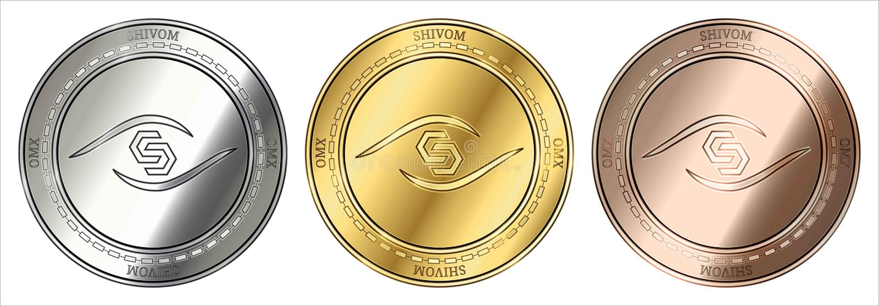 El cryptocurrency de Shivom OMX del oro, de la plata y del bronce acuña sistema de la moneda libre illustration