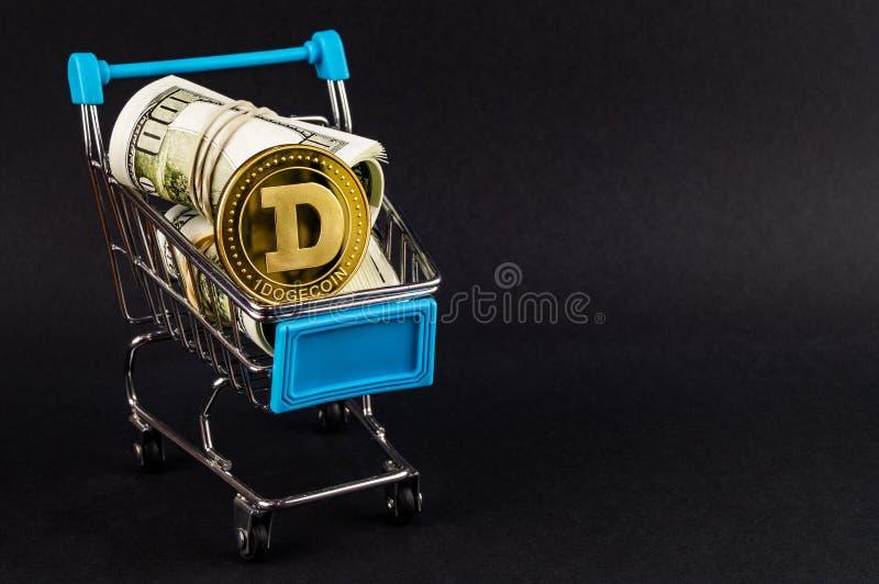 El cryptocurrency del DUX de Dogecoin significa del pago en el sector financiero imágenes de archivo libres de regalías