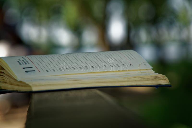 El cuaderno abierto miente en la barandilla de madera en el parque, concepto del negocio imagen de archivo