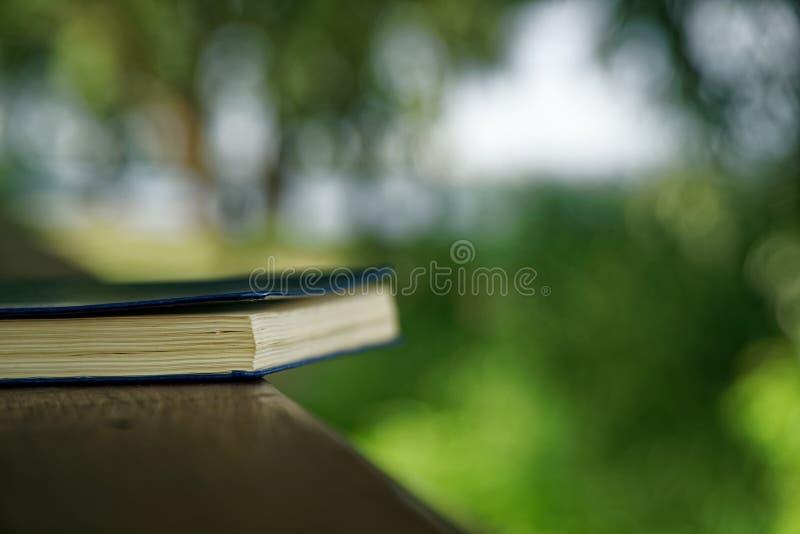 El cuaderno azul miente en la barandilla de madera en el parque, concepto del negocio imagen de archivo