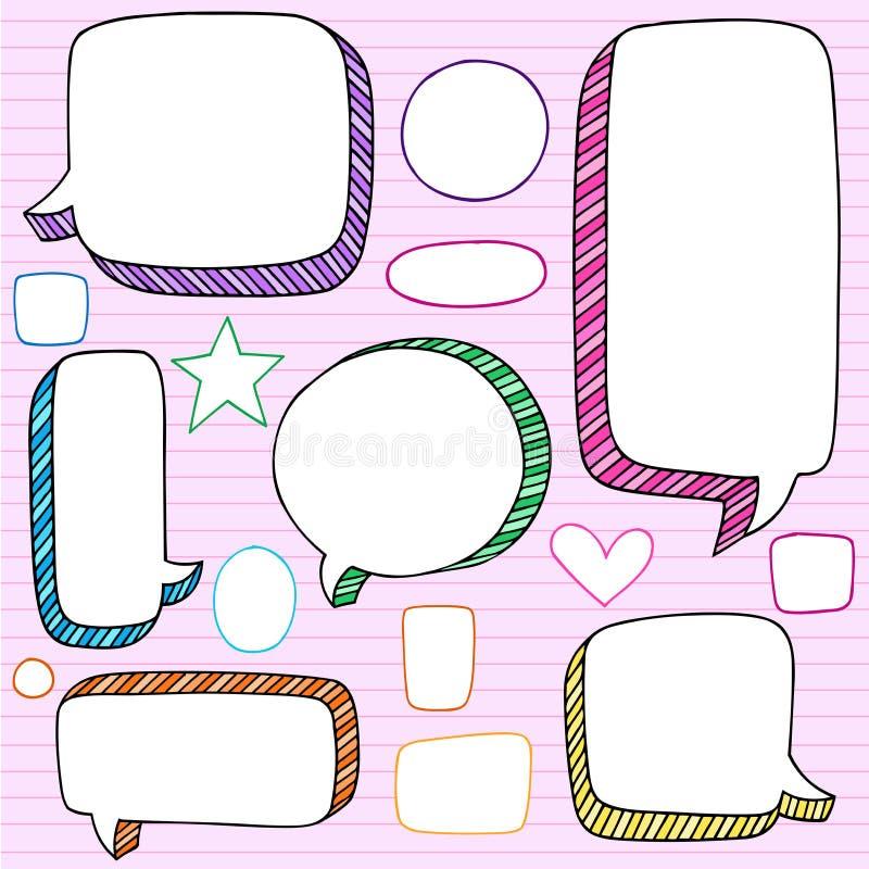 El cuaderno de las burbujas 3D del discurso Doodles el conjunto del vector stock de ilustración