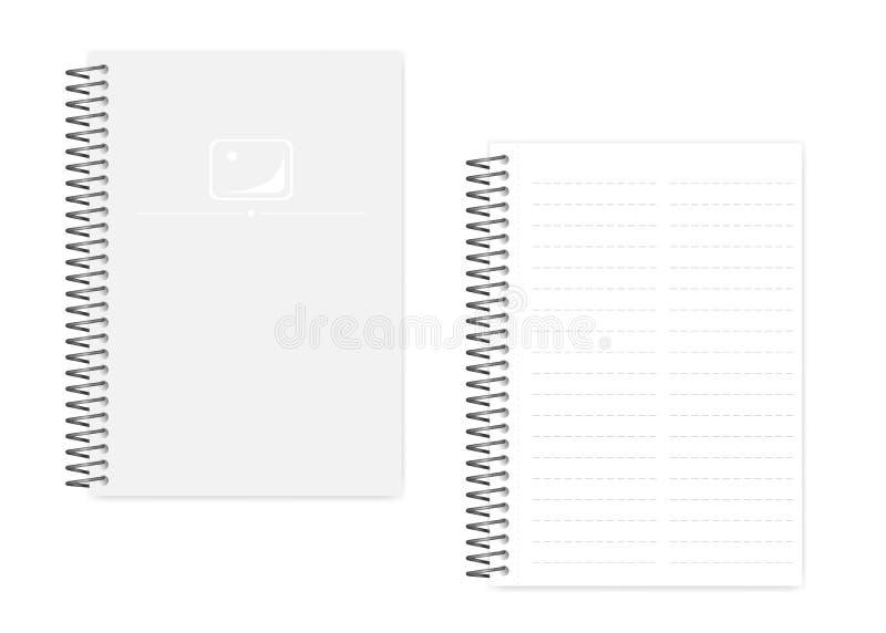 El cuaderno encuadernado del espiral A5 del alambre con la perforación lateral cubre, tem ilustración del vector