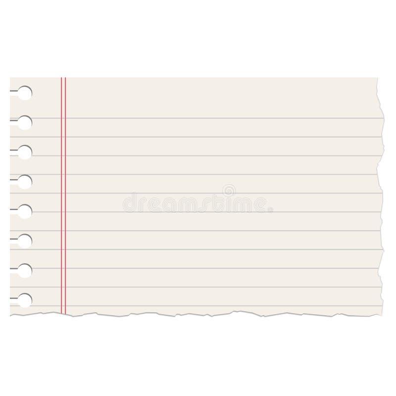 El cuaderno gobernado realista rasgó la hoja vacía stock de ilustración