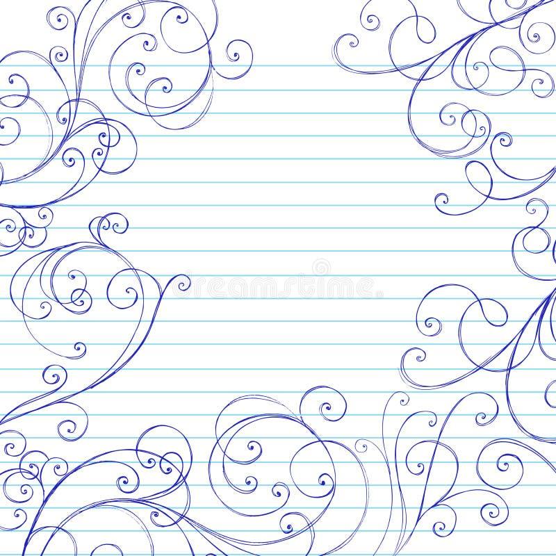 El cuaderno incompleto de los remolinos Doodles la frontera ilustración del vector