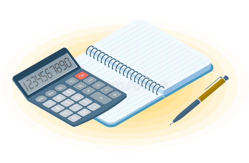 El cuaderno, la pluma y la calculadora electrónica Isometr plano del vector libre illustration