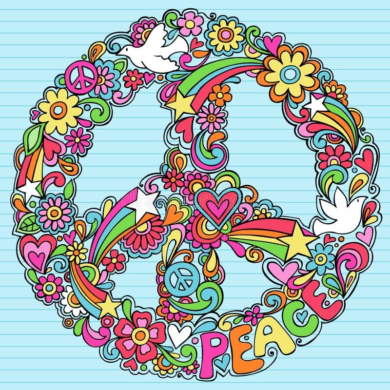 El cuaderno psicodélico de la muestra de paz Doodles vector stock de ilustración