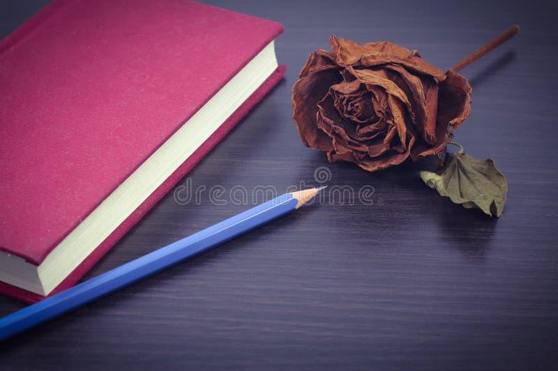 El cuaderno rojo y seca color de rosa en fondo de madera negro en vintage imágenes de archivo libres de regalías