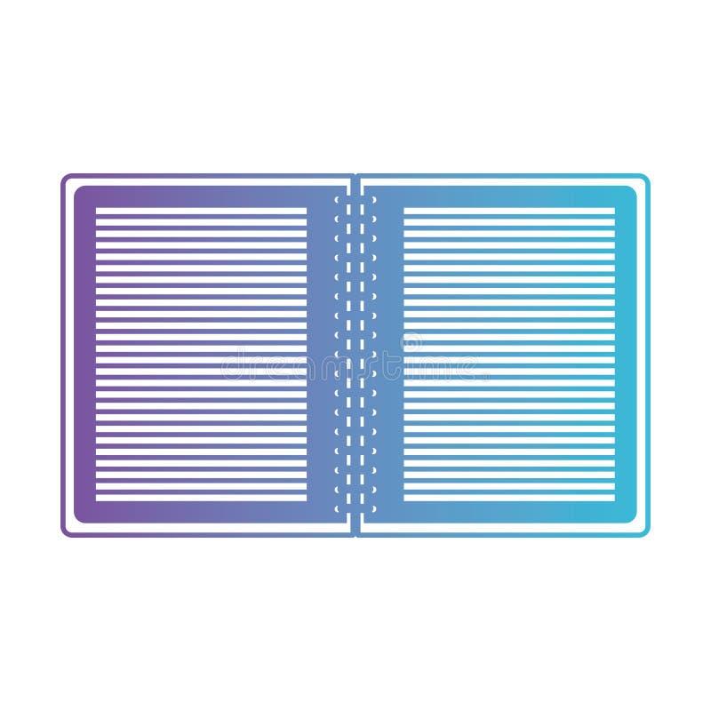 El cuaderno se abrió con espiral del metal en púrpura degradada en el contorno azul ilustración del vector