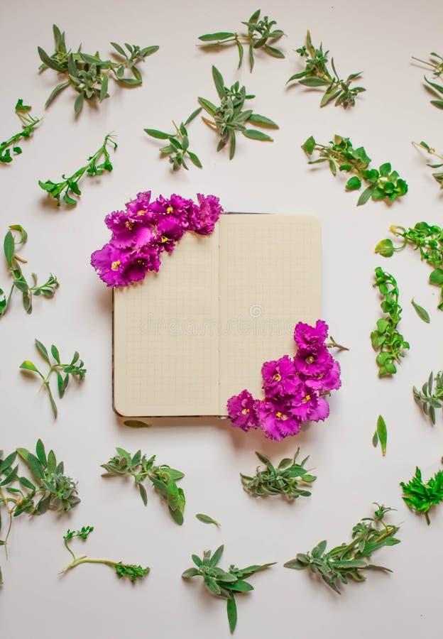 El cuaderno vac?o adorn? las flores p?rpuras en un fondo blanco, visi?n superior Libreta adornada con las hojas y la violeta verd imágenes de archivo libres de regalías
