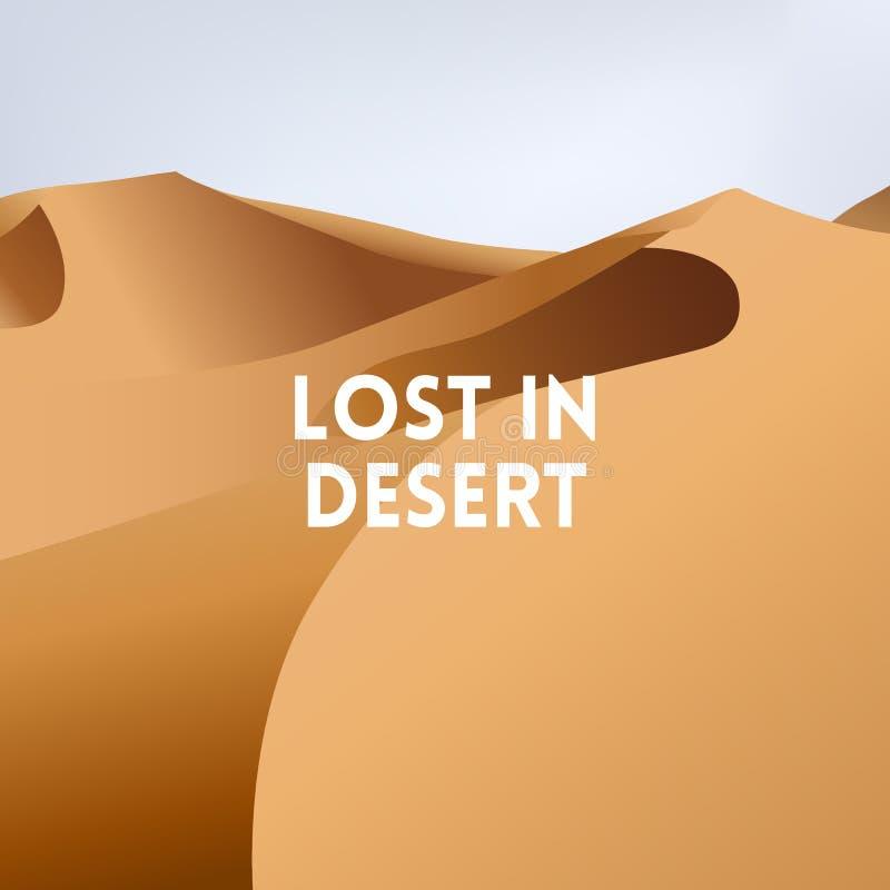 El cuadrado empañó el fondo amarillo - abandone el paisaje de la puesta del sol de las dunas ilustración del vector