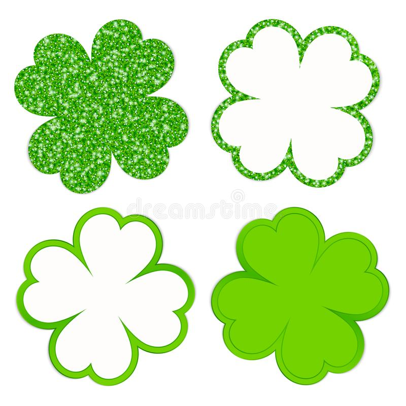 El cuadrado fijó de cuatro hojas del trébol que chispeaban y de verde brillante libre illustration