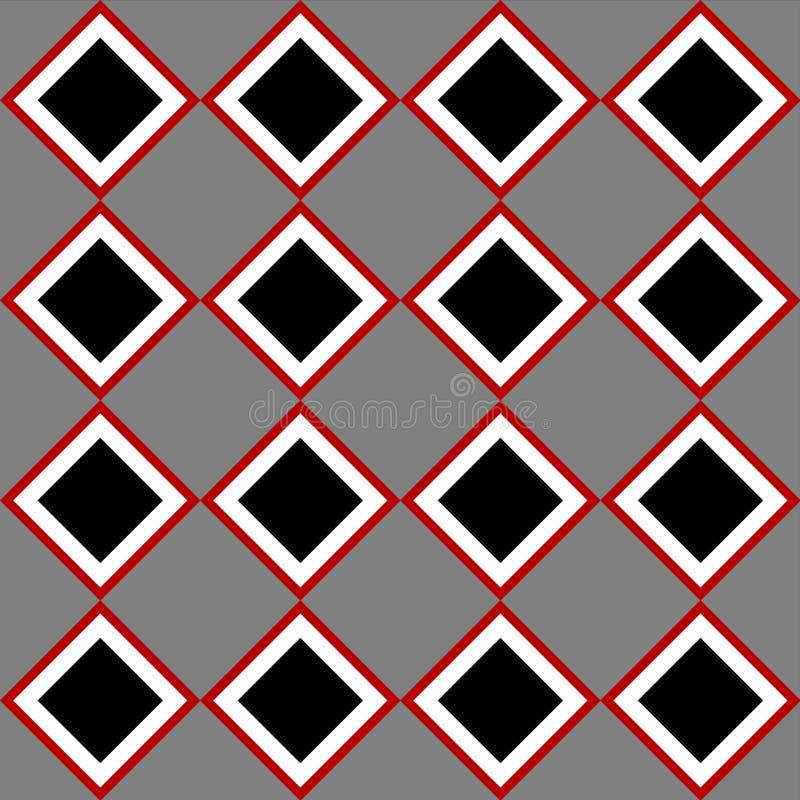 El cuadrado gris rojo negro teja el modelo inconsútil a cuadros stock de ilustración