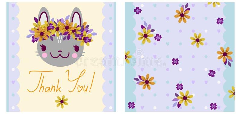 El cuadrado le agradece tarjeta con un conejito de la historieta en una guirnalda de la flor libre illustration