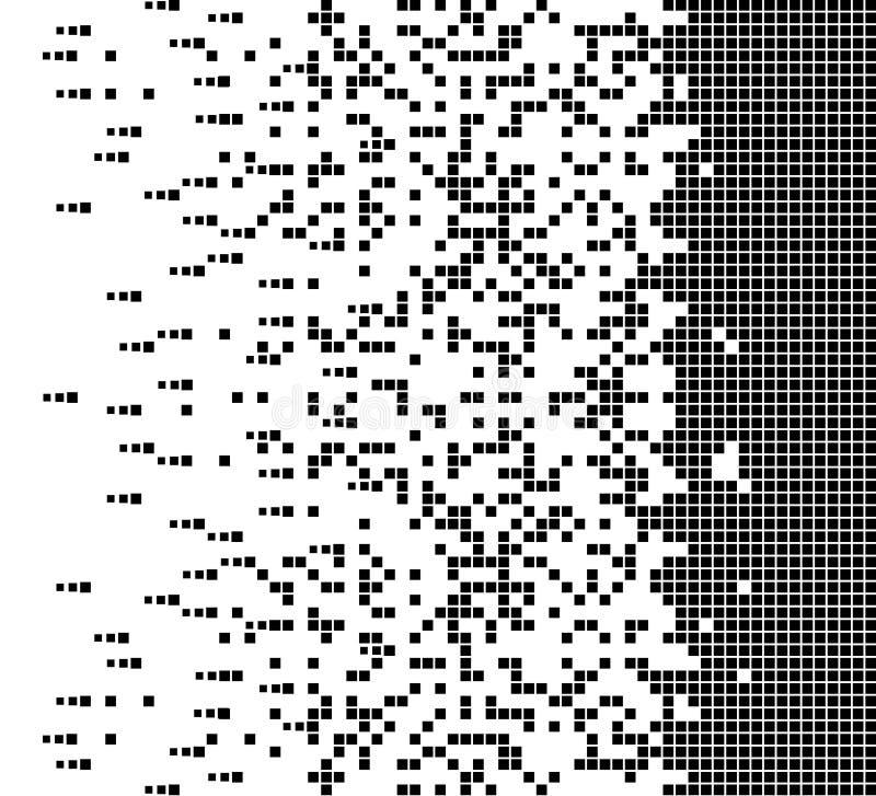 El cuadrado llenado disuelto punteó el icono del vector con efecto de la desintegración Los artículos del rectángulo se agrupan e ilustración del vector