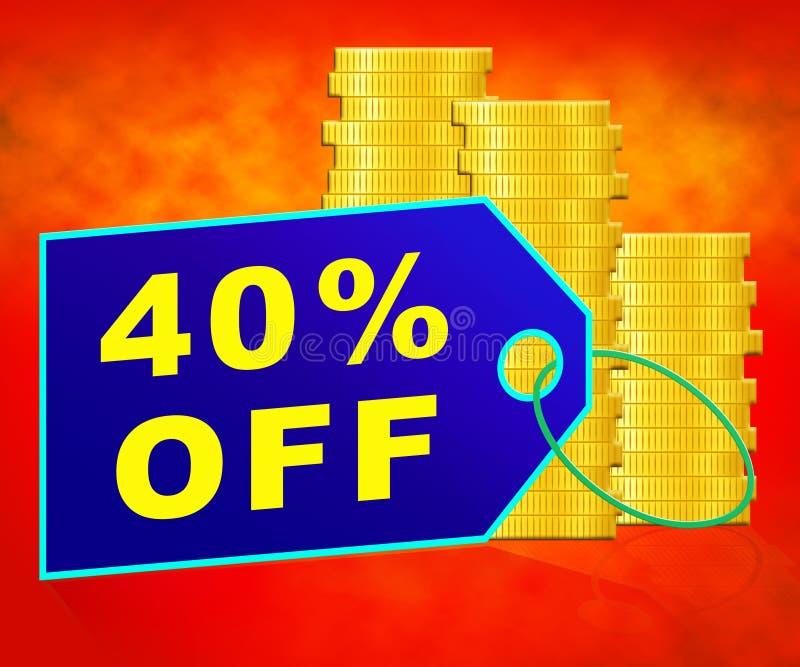 El cuarenta por ciento apagado representa el ejemplo del descuento 3d del 40% stock de ilustración