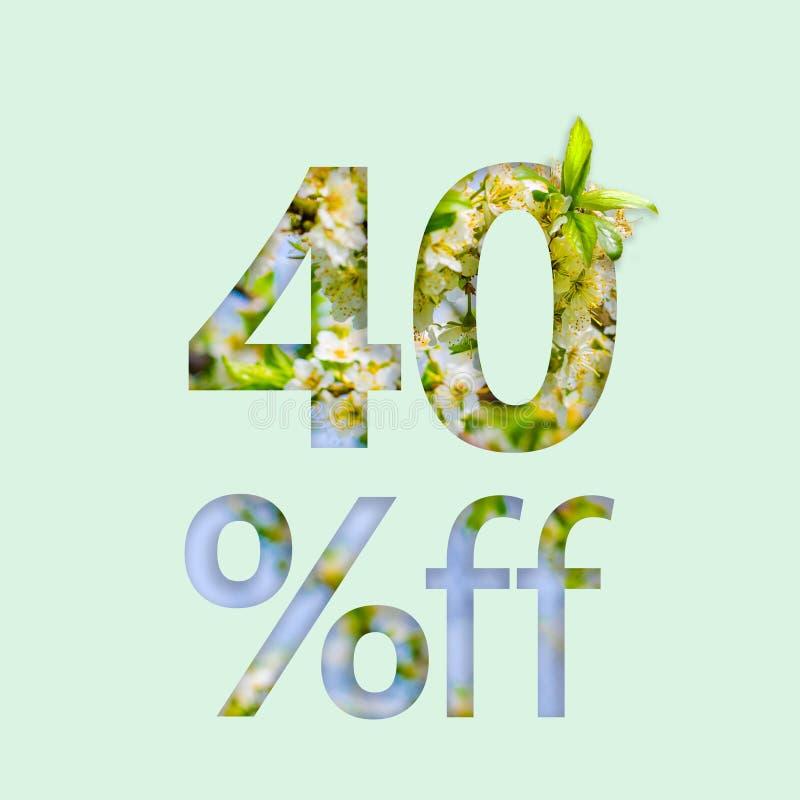 el 40% el cuarenta por ciento del descuento El concepto creativo de venta de la primavera, cartel elegante, bandera, promoción, a ilustración del vector