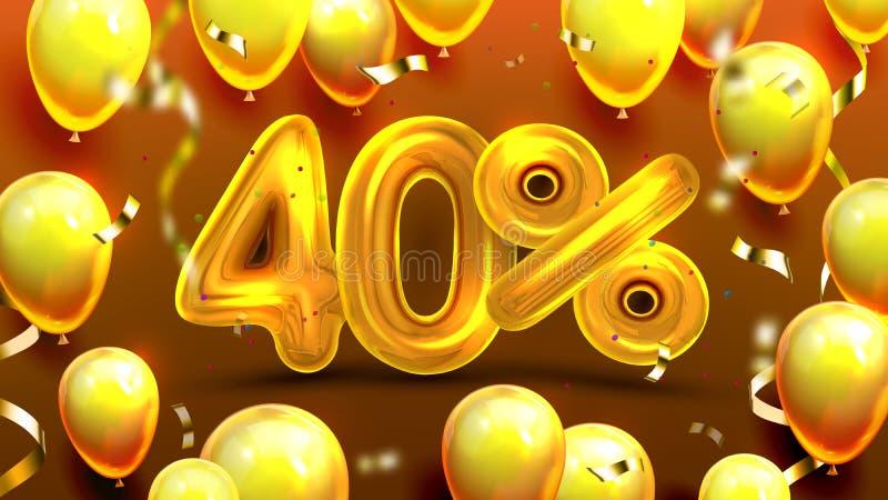 El cuarenta por ciento o vector de comercialización de la oferta de la venta 40 ilustración del vector
