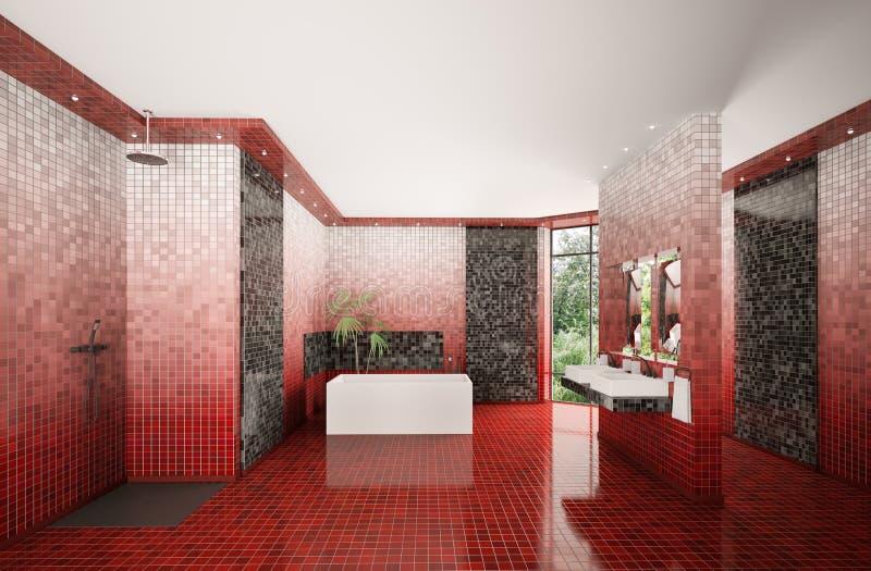 El cuarto de baño moderno 3d interior rinde ilustración del vector