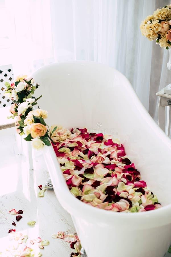 El cuarto de ba?o est? en un cuarto ligero adornado con las flores y los p?talos de rosas foto de archivo libre de regalías