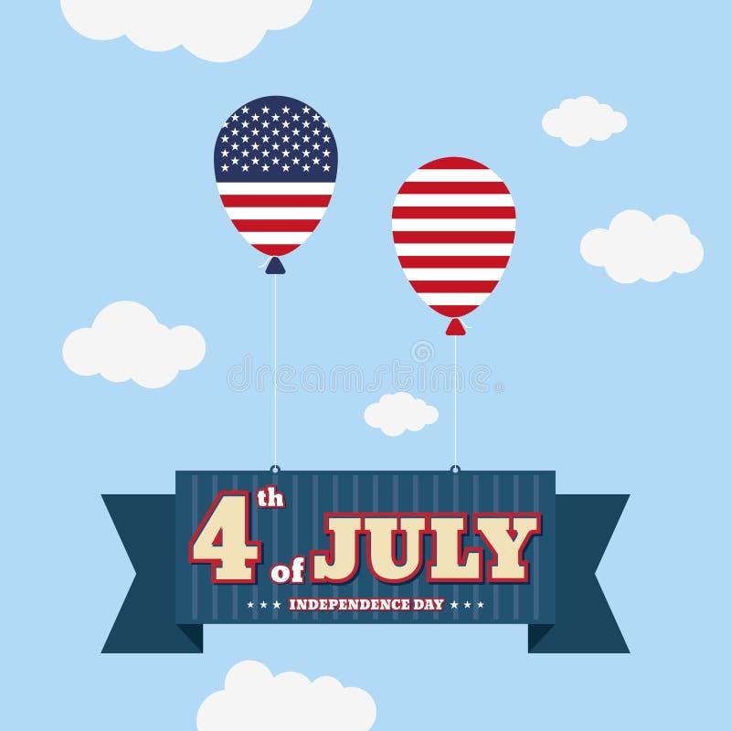 El cuarto de julio, Día de la Independencia feliz Estados Unidos de Amer stock de ilustración