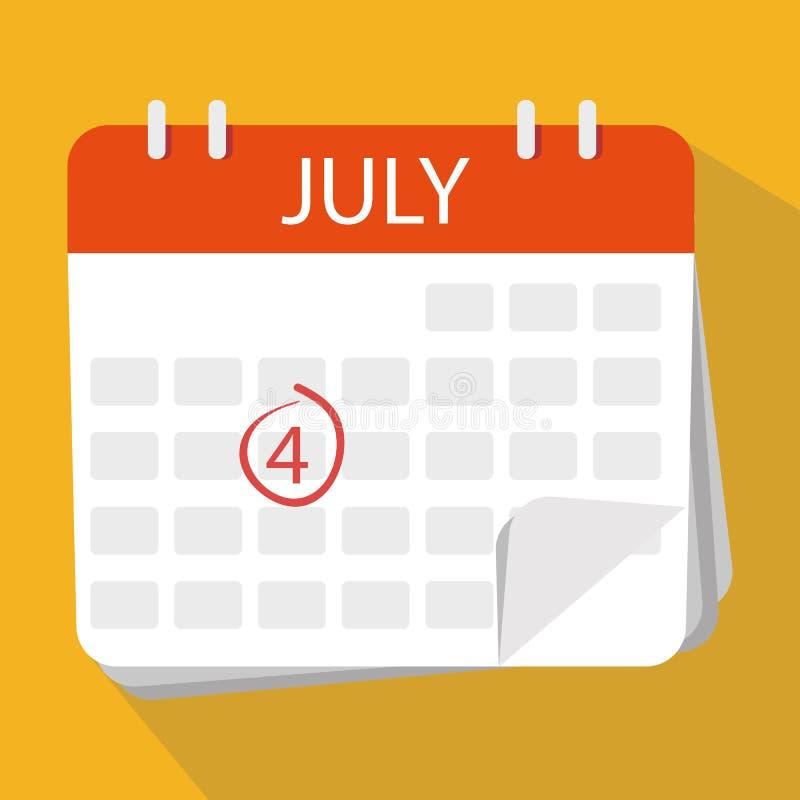 El cuarto de julio Día de la Independencia de los E Haga calendarios el icono ilustración del vector
