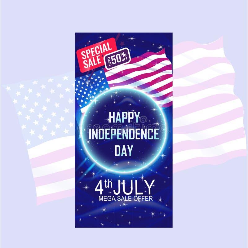 El cuarto de la bandera del Día de la Independencia de julio con los E.E.U.U. señala agitar y el modelo de estrella por medio de  ilustración del vector
