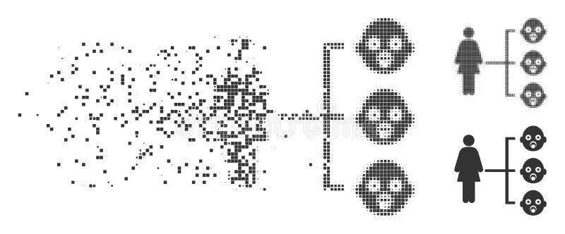 El cuarto de niños embroma el icono dañado las relaciones del tono medio del pixel stock de ilustración