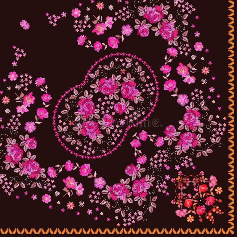 El cuarto de pañuelo floral imprime Bufanda de cuello de seda con las flores rosadas hermosas Modelo del cuadrado del pañuelo del stock de ilustración