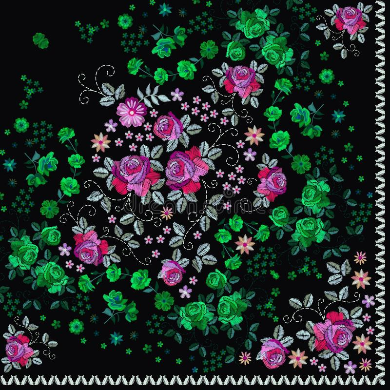 El cuarto de pañuelo ruso imprime con bordado de flores Bufanda de cuello de seda con las flores y las hojas hermosas Pañuelo del stock de ilustración