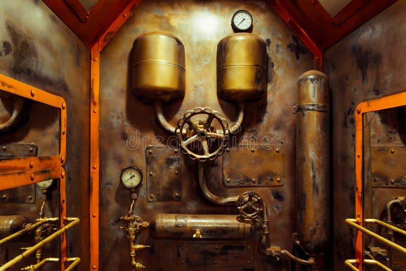 El cuarto en estilo del steampunk del vintage foto de archivo