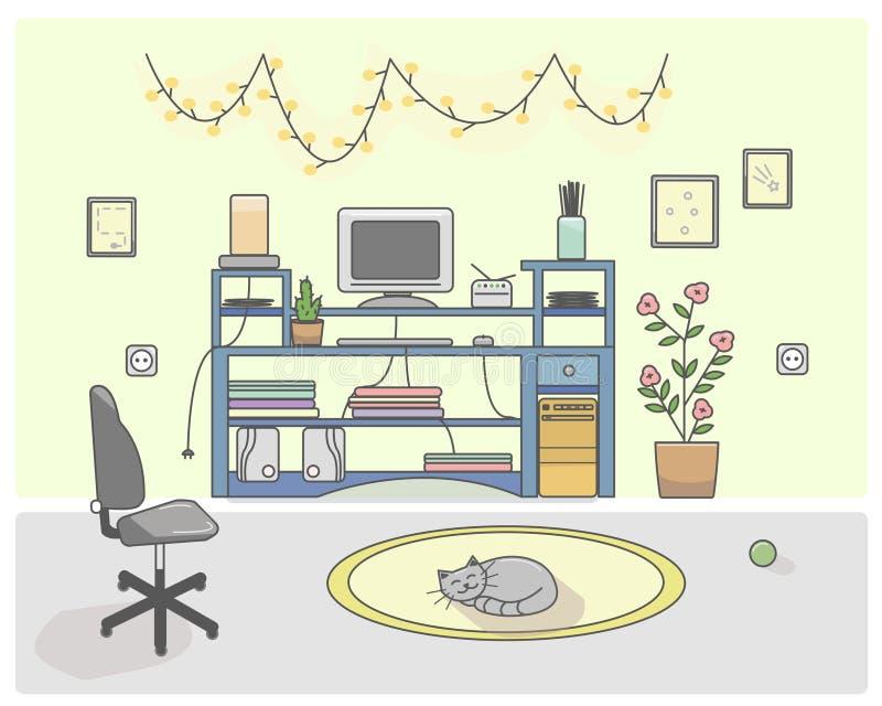 El cuarto vivo adentro ilustración del vector