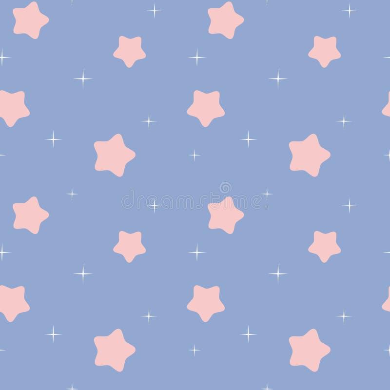 El cuarzo color de rosa blanco y rosado precioso lindo protagoniza en el ejemplo inconsútil del fondo del modelo del cielo azul d ilustración del vector