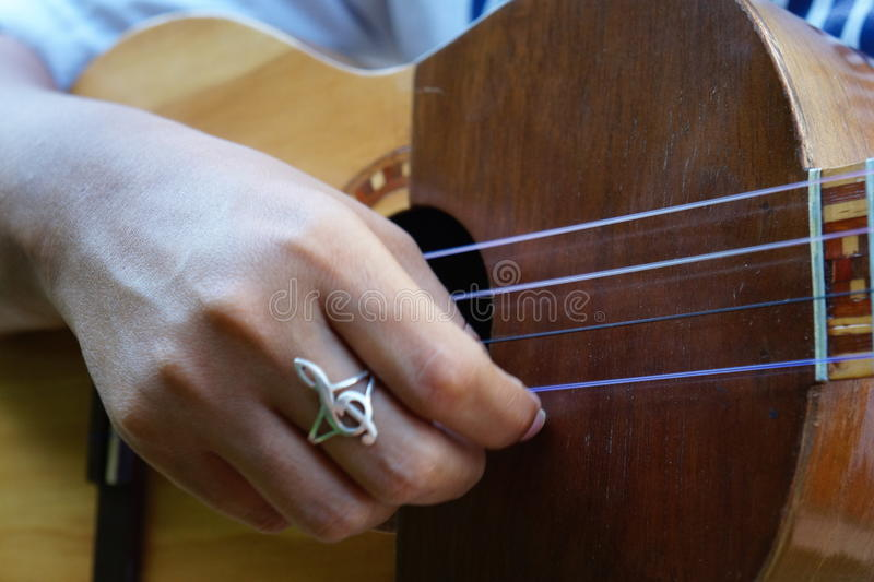 El Cuatro, venezuelanskt musikinstrument arkivfoton