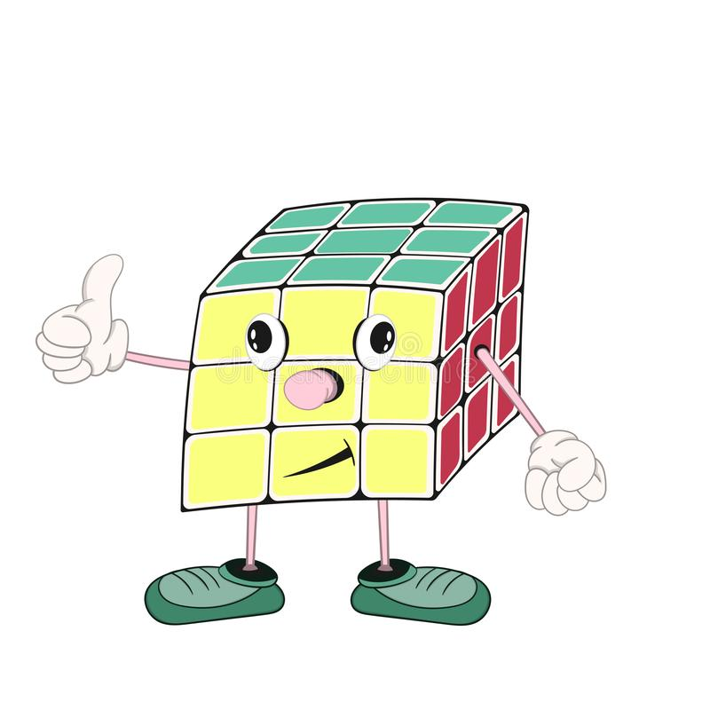 El cubo de Rubik divertido de la historieta con los ojos, los brazos y las piernas en zapatos, muestra un gesto aprobado con su f stock de ilustración