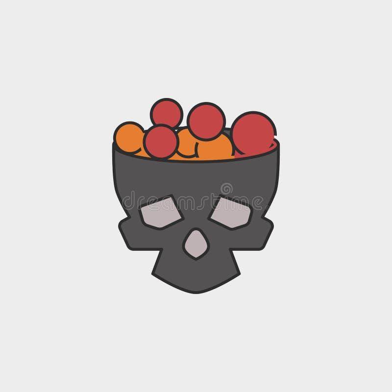El cubo del cráneo de Halloween llenado de los dulces y del esquema del caramelo coloreó el icono ilustración del vector