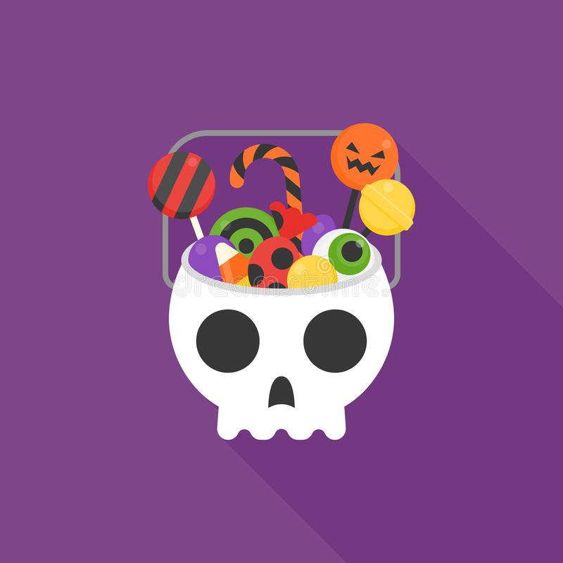 El cubo del cráneo llenó de los dulces y del caramelo para la noche de Halloween ilustración del vector