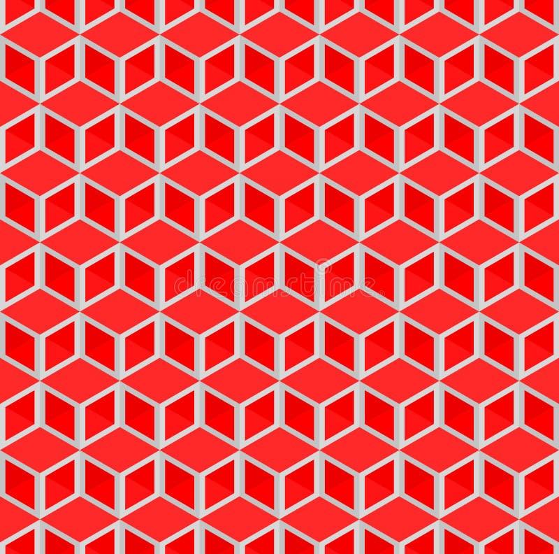 El cubo rojo abstracto modela el fondo ilustración del vector