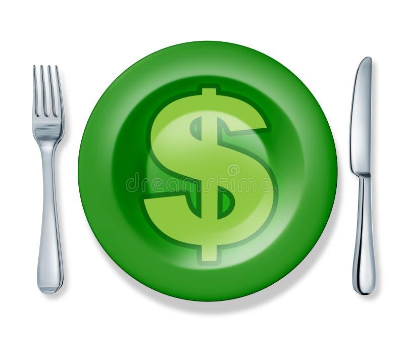 El cuchillo de la placa de la fork del alimento del asunto aisló al profesor del dinero ilustración del vector