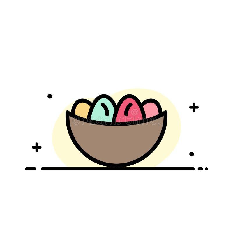 El cuenco, celebración, Pascua, huevo, línea plana del negocio de la jerarquía llenó la plantilla de la bandera del vector del ic stock de ilustración