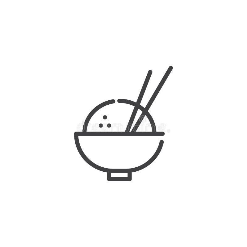 El cuenco de arroz y los palillos alinean el icono libre illustration