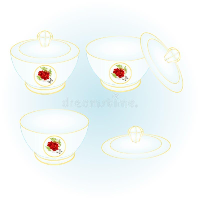 El cuenco de azúcar de vintage rojo del hibisco y de la mariposa de la porcelana vector el ejemplo editable libre illustration