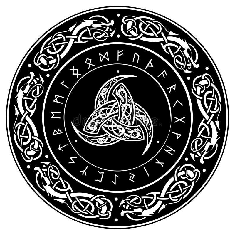 El cuerno triple de Odin adornó con los ornamentos y las runas escandinavos ilustración del vector