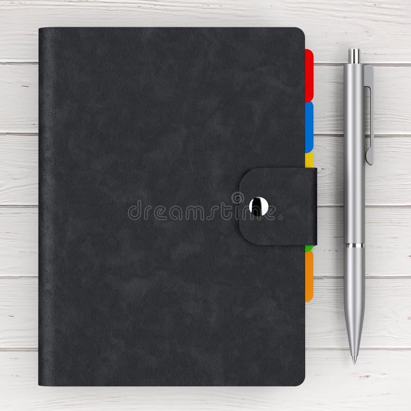 El cuero negro cubrió el libro personal del diario o del organizador con la pluma ilustración del vector