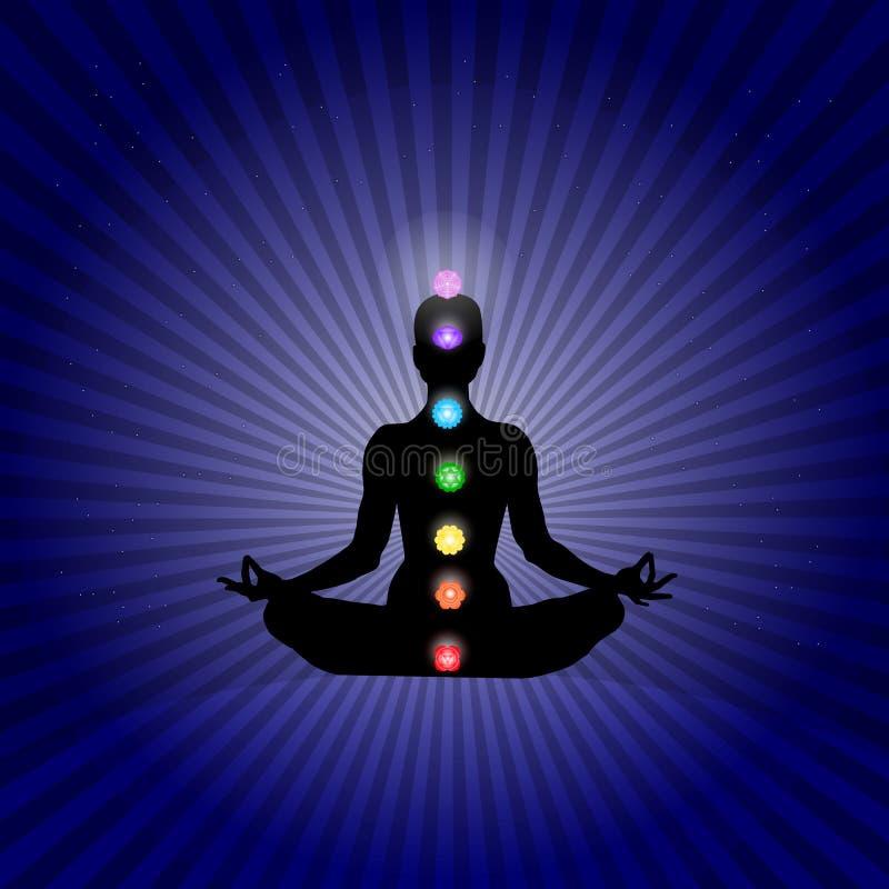 El cuerpo de Famale en asana de la yoga con siete chakras en colores de neón brillantes en estrellas azul marino de los rayos esp stock de ilustración