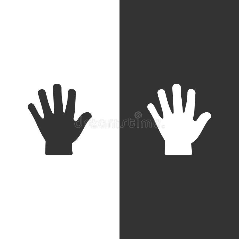 El cuerpo detecta tacto Icono de la mano en fondo blanco y negro libre illustration