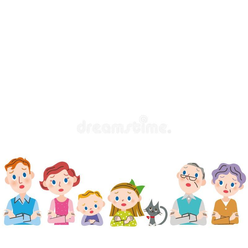 El cuerpo superior de la familia de las generaciones de la pregunta tres libre illustration