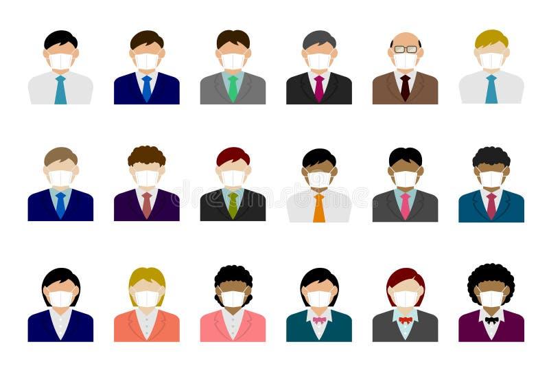 El cuerpo superior de una persona de negocios sin rostro con un conjunto de ilustraciones vectoriales de máscara ilustración del vector