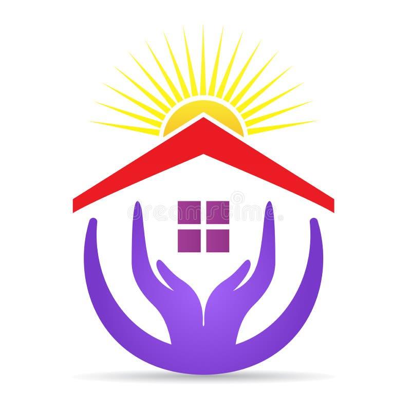El cuidado casero de la propiedad da el logotipo ilustración del vector