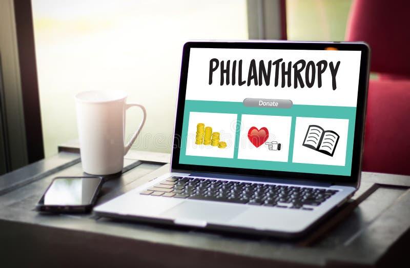 El cuidado de la esperanza dona la ayuda Su de las donaciones de la caridad de la filantropía del altruismo imagen de archivo libre de regalías
