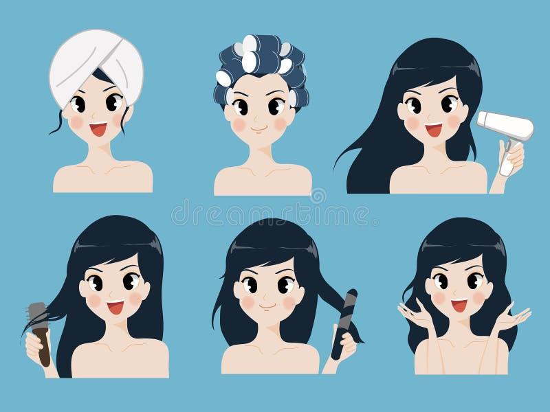 El cuidado del cabello del procedimiento de la muchacha linda libre illustration
